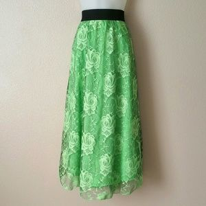 LulaRoe Green Lace Skirt